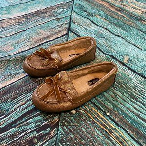Sperry Top Sider Gold Leather Moccasin Slippers 7